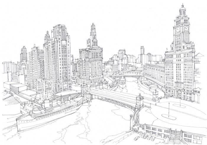 Cityscape Line Drawings Chicago Cityscape