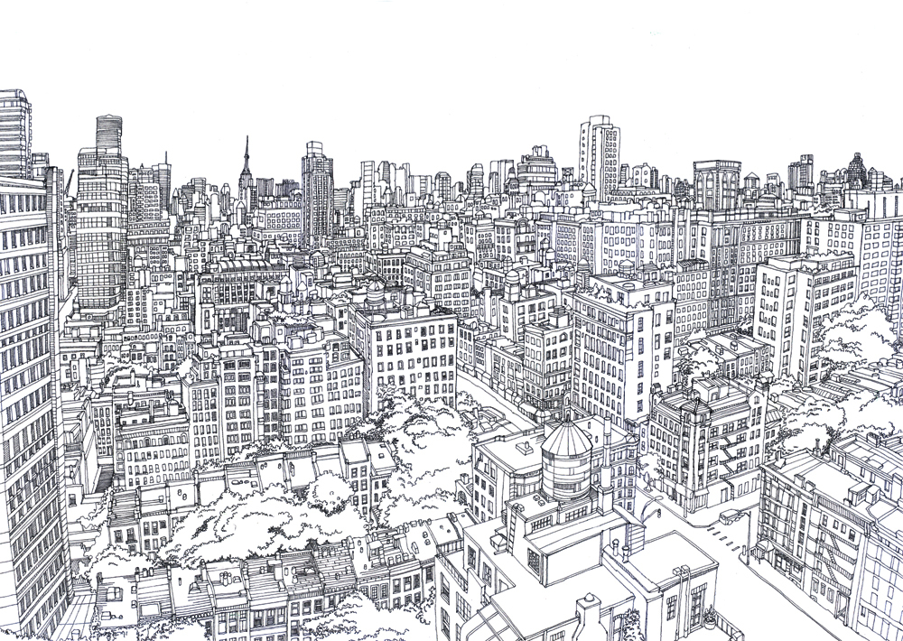 Line Drawing New York City Skyline : Illustrators archipress one